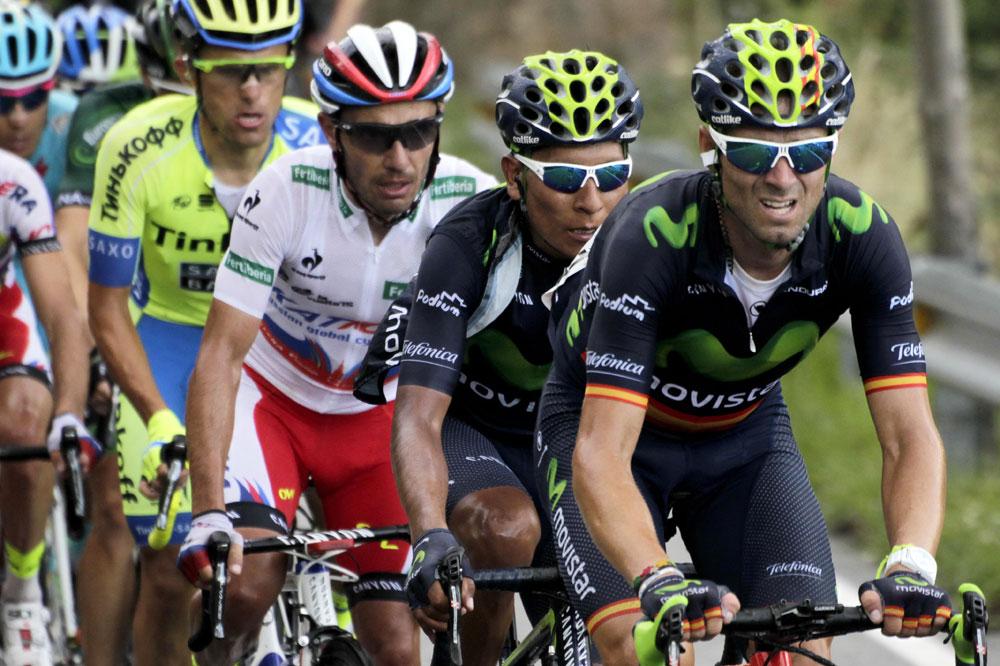 Alejandro Valverde devant Nairo Quintana et Joaquim Rodriguez