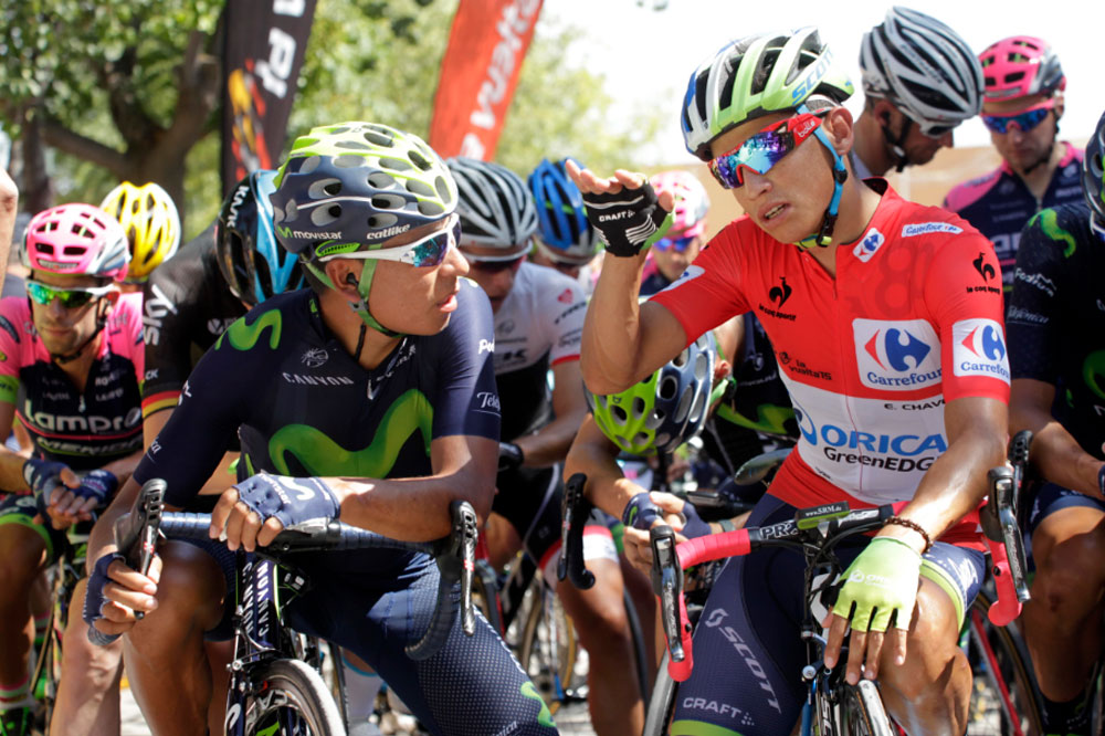 Esteban Chaves échange avec Nairo Quintana
