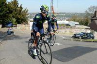 Alejandro Valverde en reco dans le Mur de Huy
