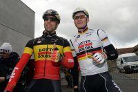 Les champions de Belgique et d'Allemagne Jens Debusschere et André Greipel