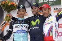 Julian Alaphilippe auprès d'Alejandro Valverde et Joaquim Rodriguez à Liège