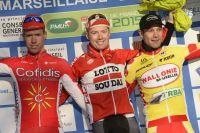 Kenneth Vanbilsen, Pim Ligthart, Antoine Demoitié, le podium de La Marseillaise