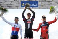 Le podium de Paris-Roubaix : Zdenek Stybar, John Degenkolb, Greg Van Avermaet