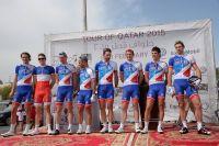 L'équipe FDJ au départ du Tour du Qatar avec le champion de France Arnaud Démare
