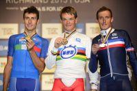 Adriano Malori, Vasil Kiryienka, Jérôme Coppel, l'inattendu podium des Mondiaux chronométrés