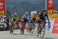 Au col d'Allos, Alberto Contador, Nairo Quintana et Chris Froome basculent dans la roue de Richie Porte