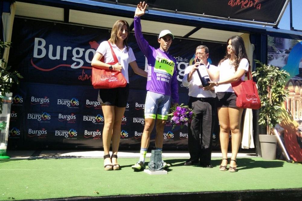 Contador sur le podium du Tour de Burgos
