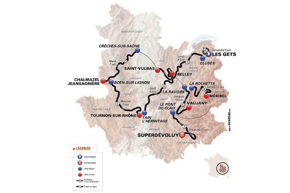 Le parcours du Critérium du Dauphiné