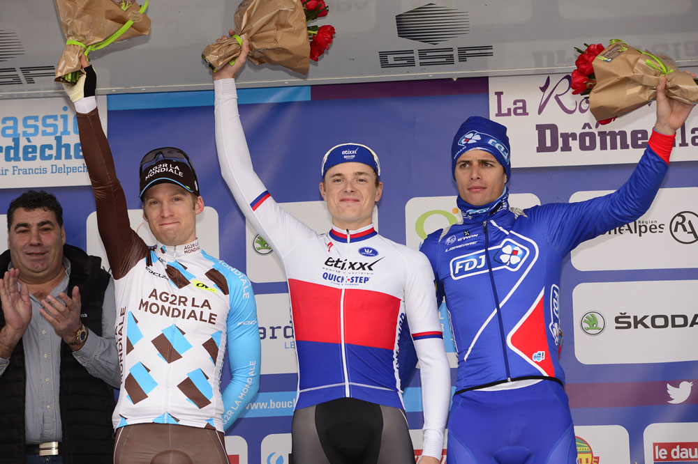 Le podium de la Drôme Classic : Jan Bakelants, Petr Vakoc, Arthur Vichot