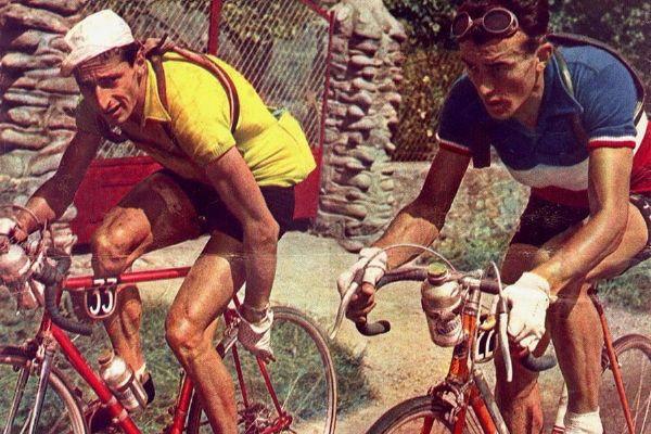Ferdi Kübler aux côtés de Louison Bobet sur le Tour de France 1950