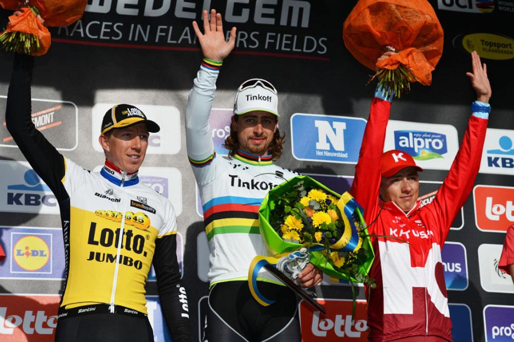 Le podium de Gand-Wevelgem : Sep Vanmarcke, Peter Sagan, Viacheslav Kuznetsov
