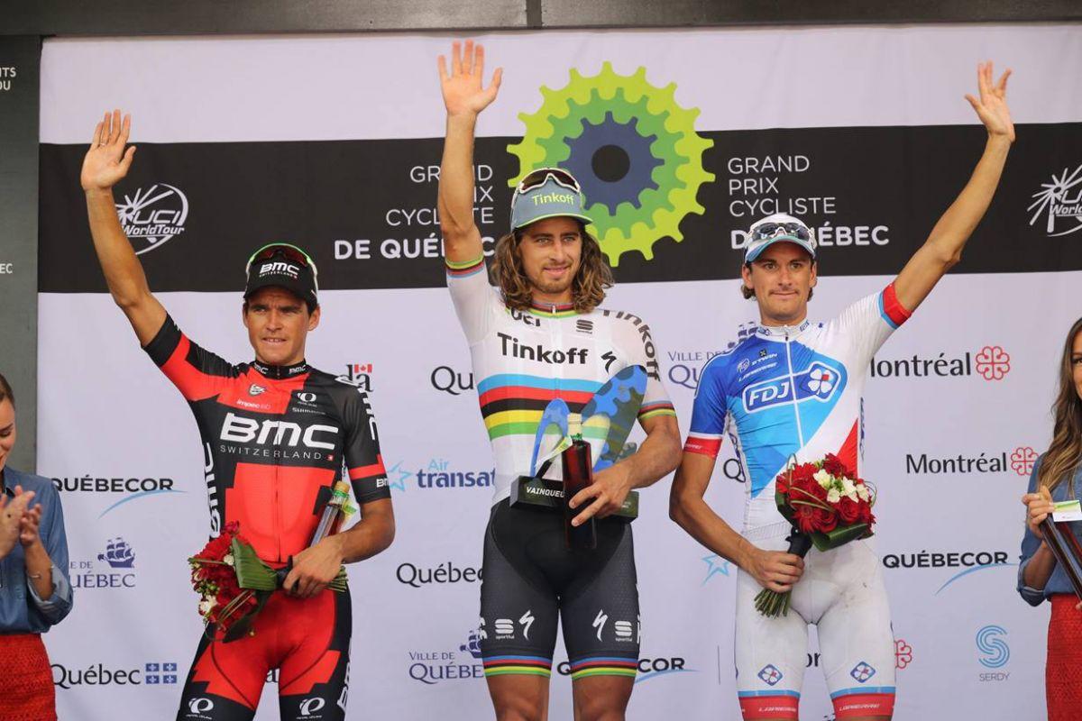 Greg Van Avermaet, Peter Sagan et Anthony Roux sur le podium à Québec