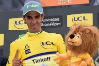 Alberto Contador en jaune sur le Dauphiné