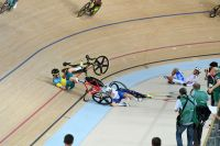 Fauché, Elia Viviani est à terre dans la course aux points de l'omnium