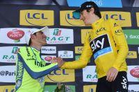Alberto Contador congratule Geraint Thomas