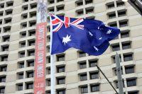Le drapeau australien flotte au-dessus du Tour Down Under
