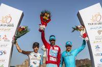 Vincenzo Nibali, Romain Bardet et Jakob Fuglsang sur le podium du Tour d'Oman