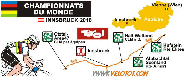 La carte des sites des Mondiaux d'Innsbruck 2018