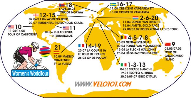 La carte du Women's WorldTour 2017