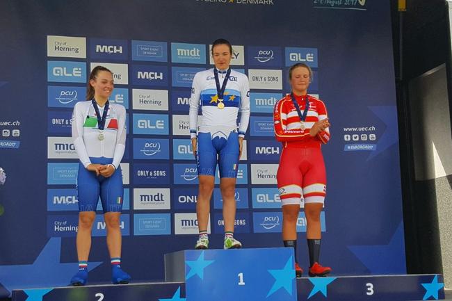 Le podium des Euro' CLM Juniors Dames 2017