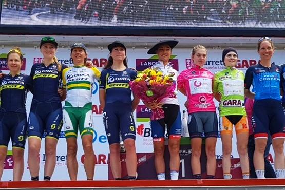 Le podium final de l'Emakumeen Bira 2017