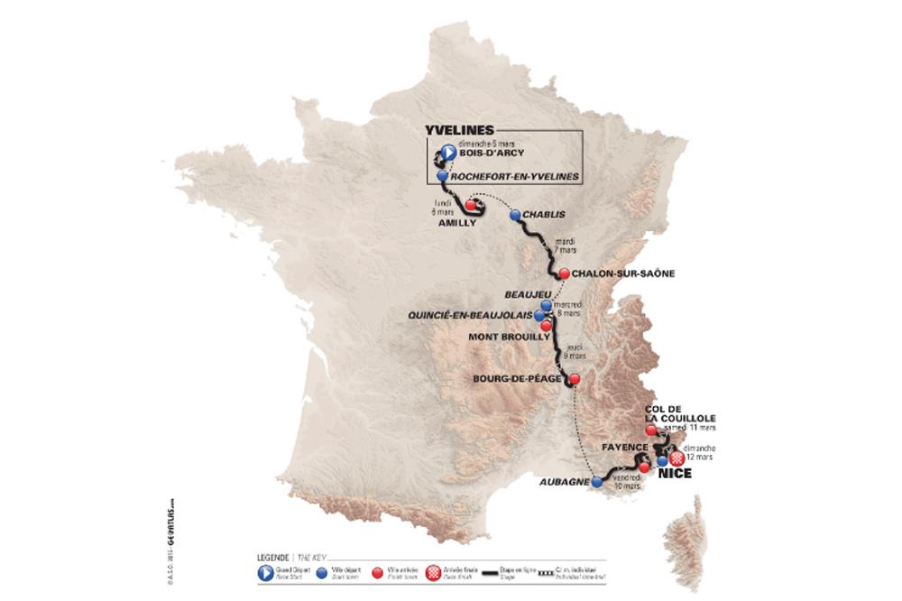 Paris-Nice: le parcours a été dévoilé