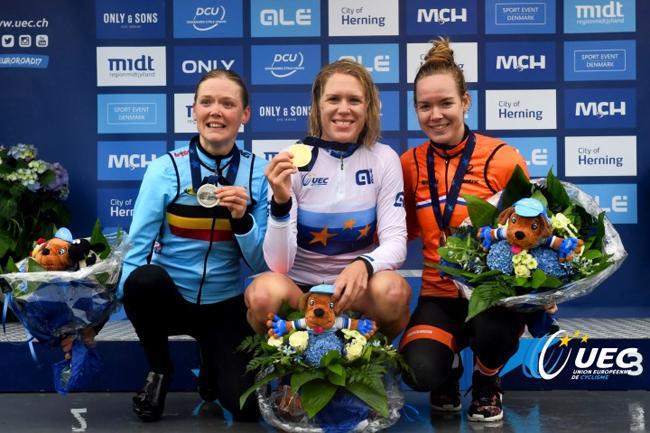 Podium des Euro' CLM Elites Dames 2017