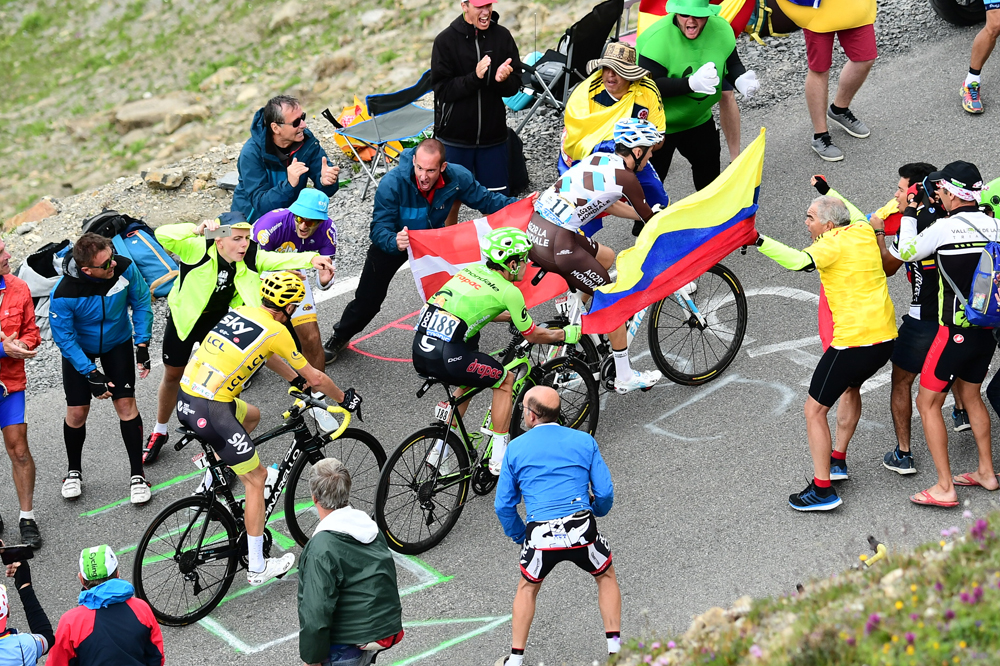 Romain Bardet, Rigoberto Uran et Chris Froome