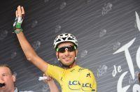 Fabio Aru, en jaune avant le départ de la 13ème étape