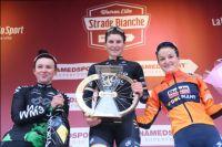 Le podium des Strade Bianche Donne 2017