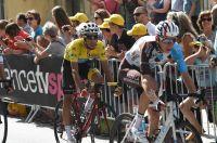 Romain Bardet et Fabio Aru, dans le final de l'étape de Foix