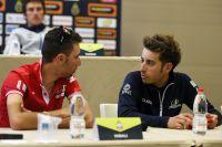 Fabio Aru et Vincenzo Nibali en pleine discussion