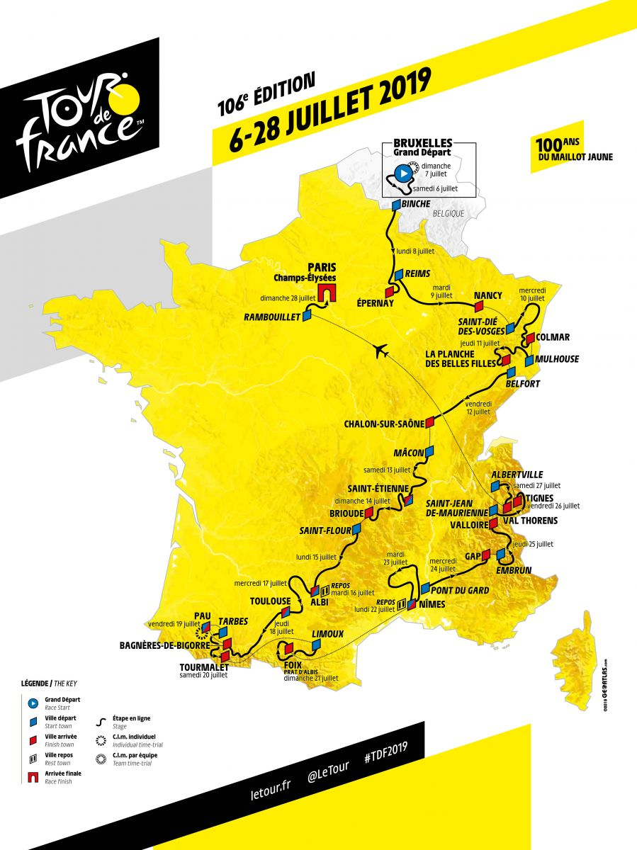 Carte du Tour de France 2019
