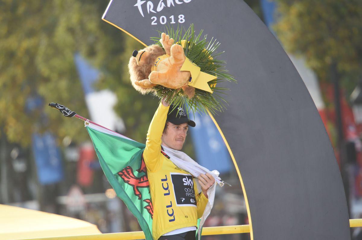 Geraint Thomas podium TDF 2018