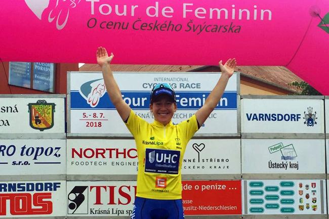 Lauretta Hanson en jaune sur le Tour de Feminin 2018