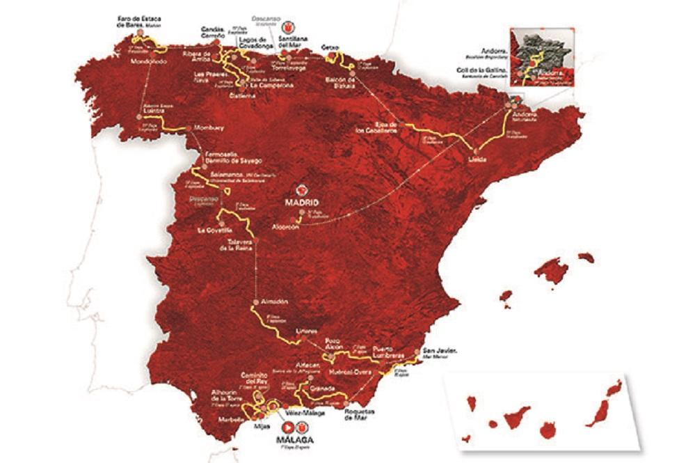 Le parcours du Tour d'Espagne 2018
