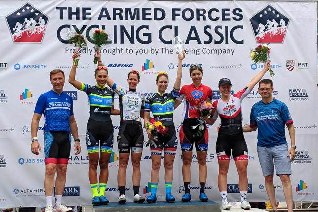 le podium de l'Armed Forces Cycling Classic 2018