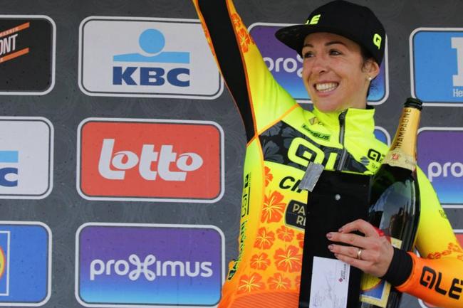 Marta Bastianelli sur le podium à Wevelgem 2018