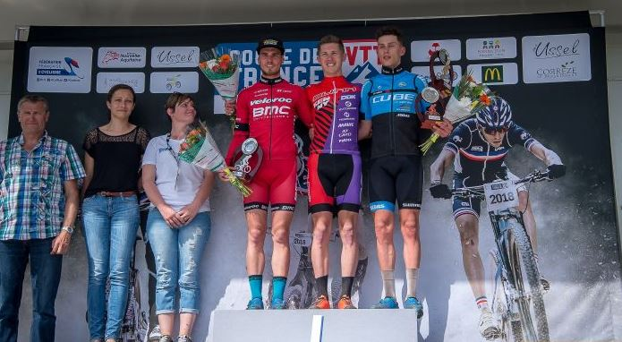 Podium Espoir Coupe de France VTT Essel Joshua Dubau