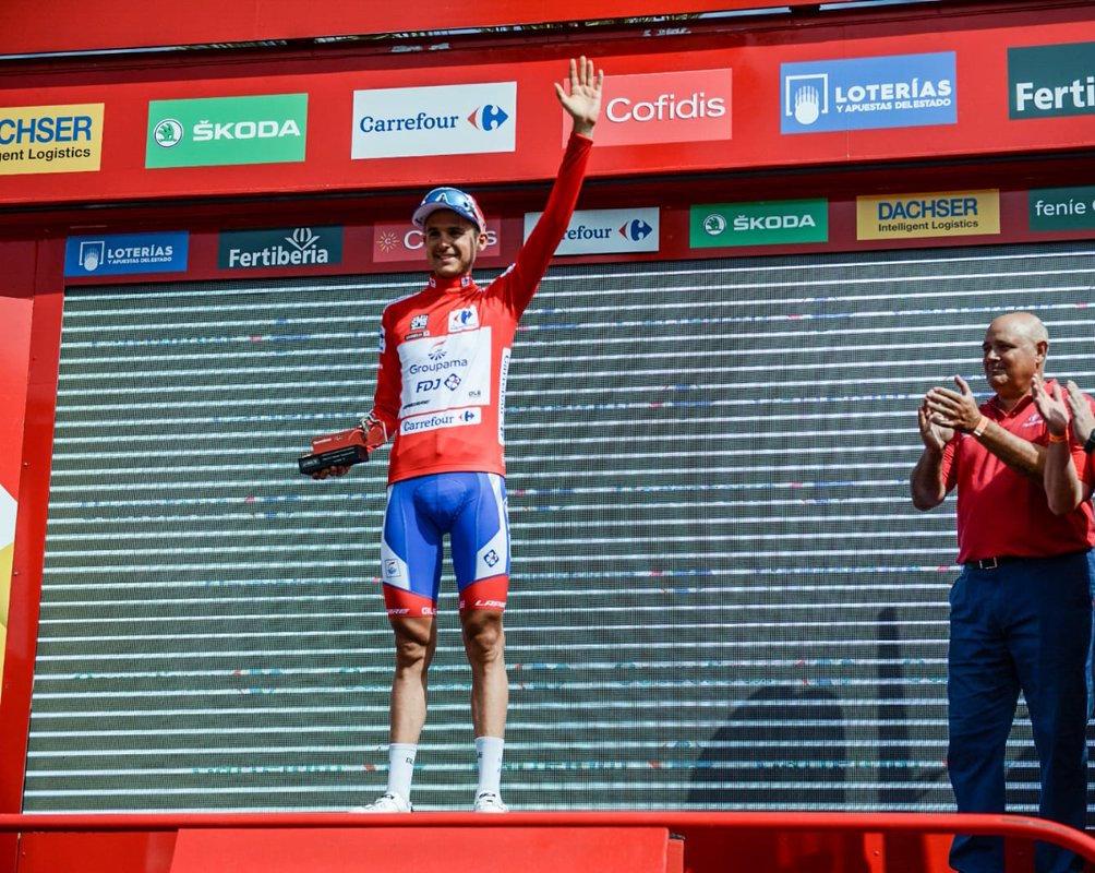 Rudy Molard en maillot rouge sur la Vuelta 2018