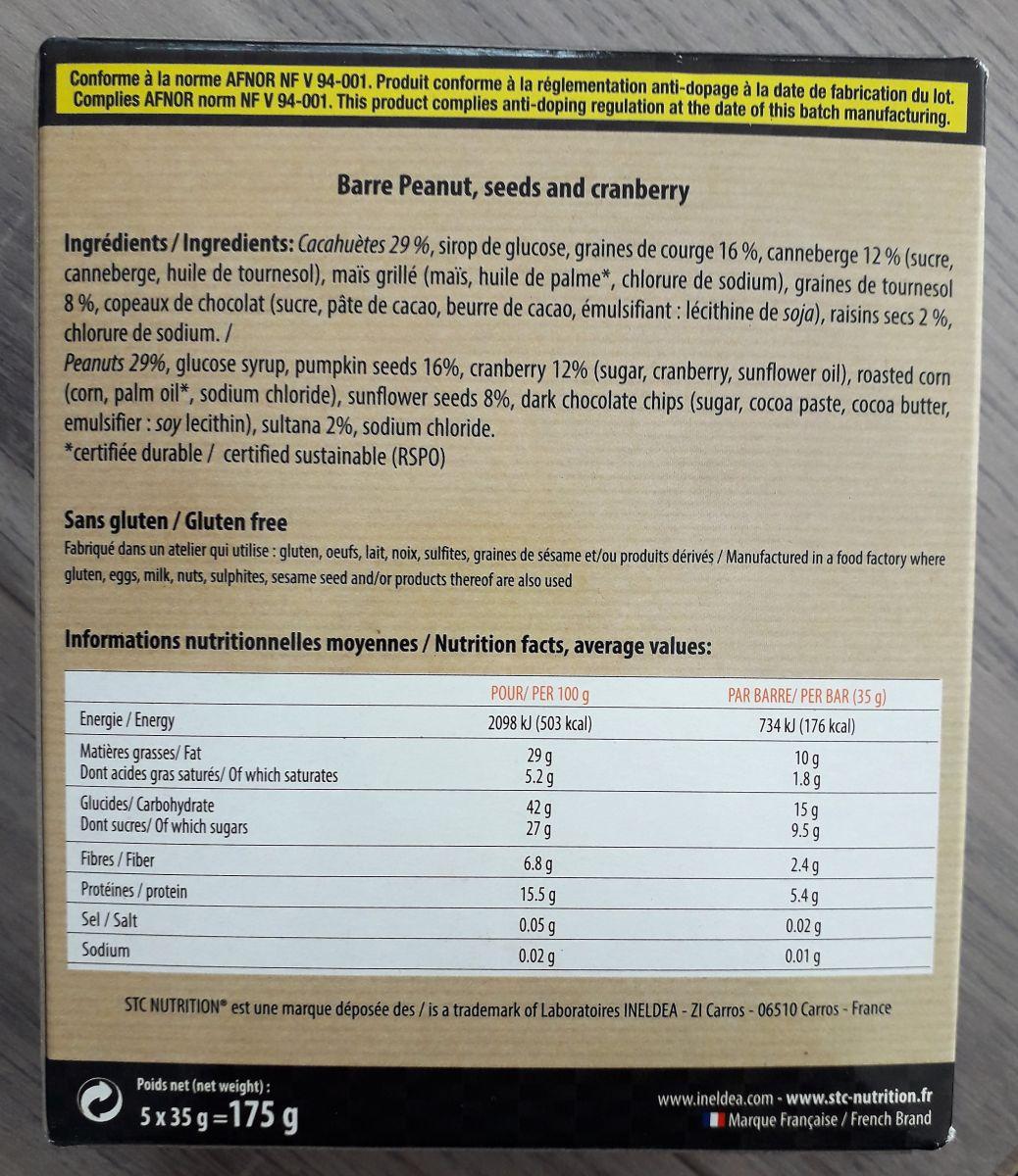 Stc nutrition barre vegan composition