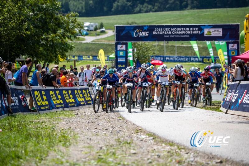 Un départ sur les championnats d'Europe de VTT