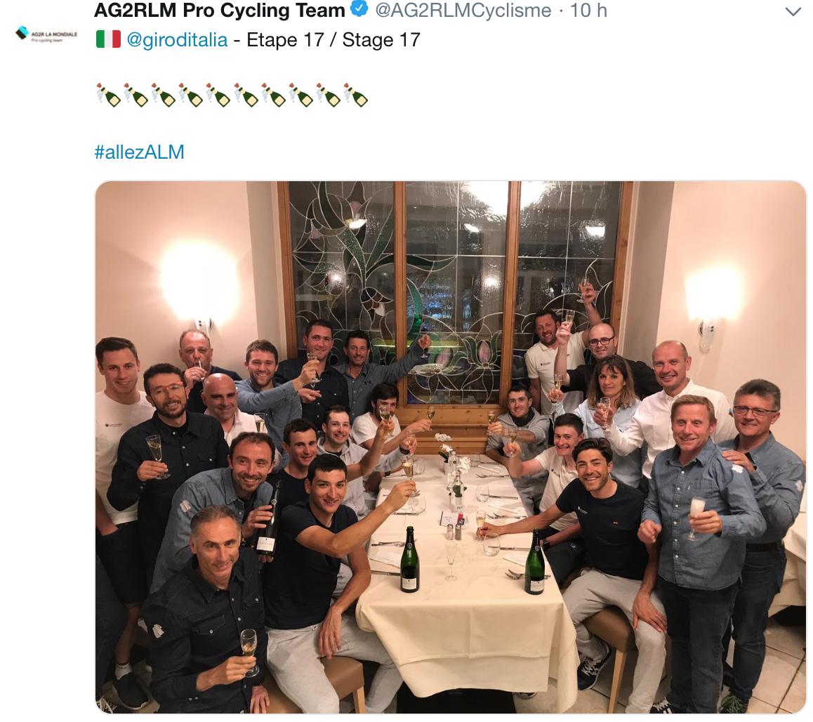 AG2R La Mondiale célèbre la victoire de Nans Peters