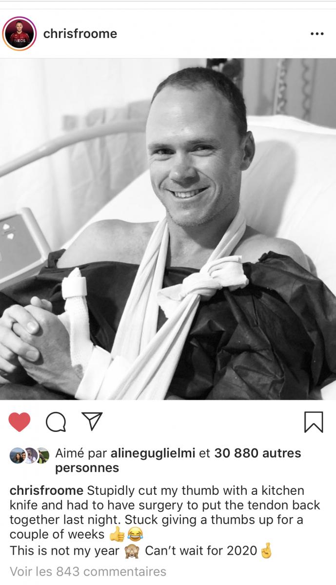 Chris Froome blessé au pouce