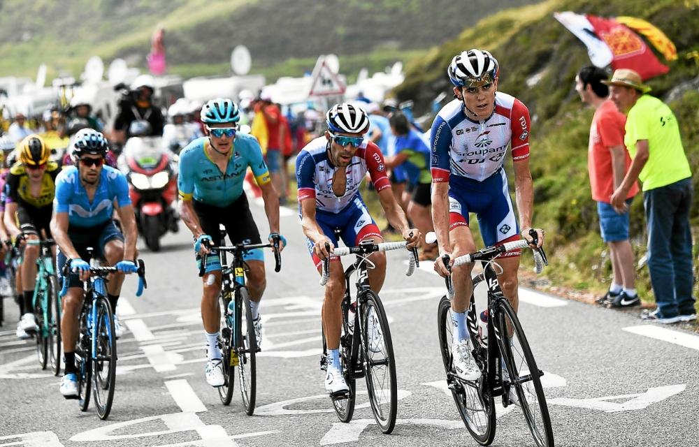 David Gaudu emmenant Thibaut Pinot dans l'ascension du Tourmalet sur le Tour de France