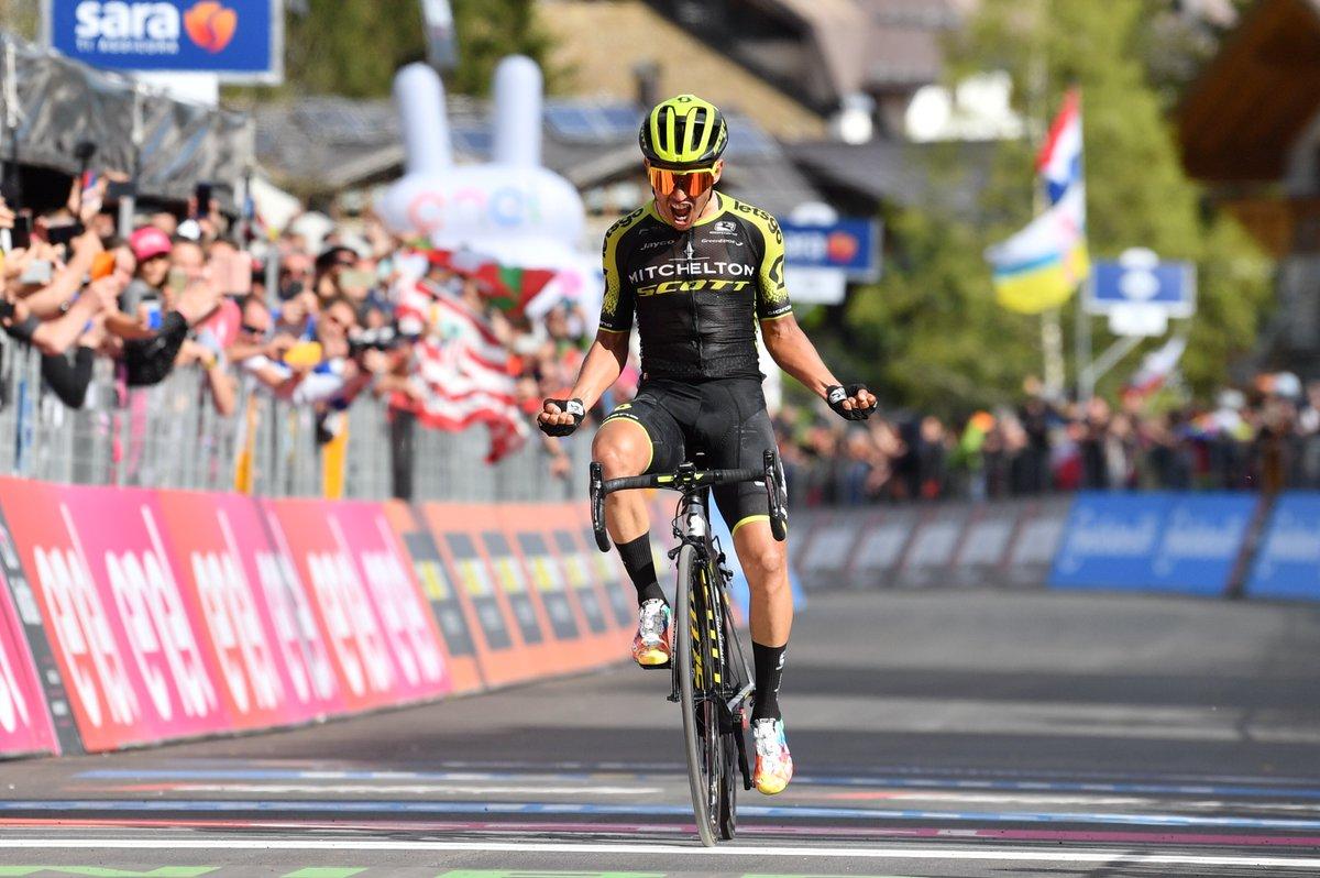 Esteban Chavez vainqueur en haut de San Martino di Castrozza