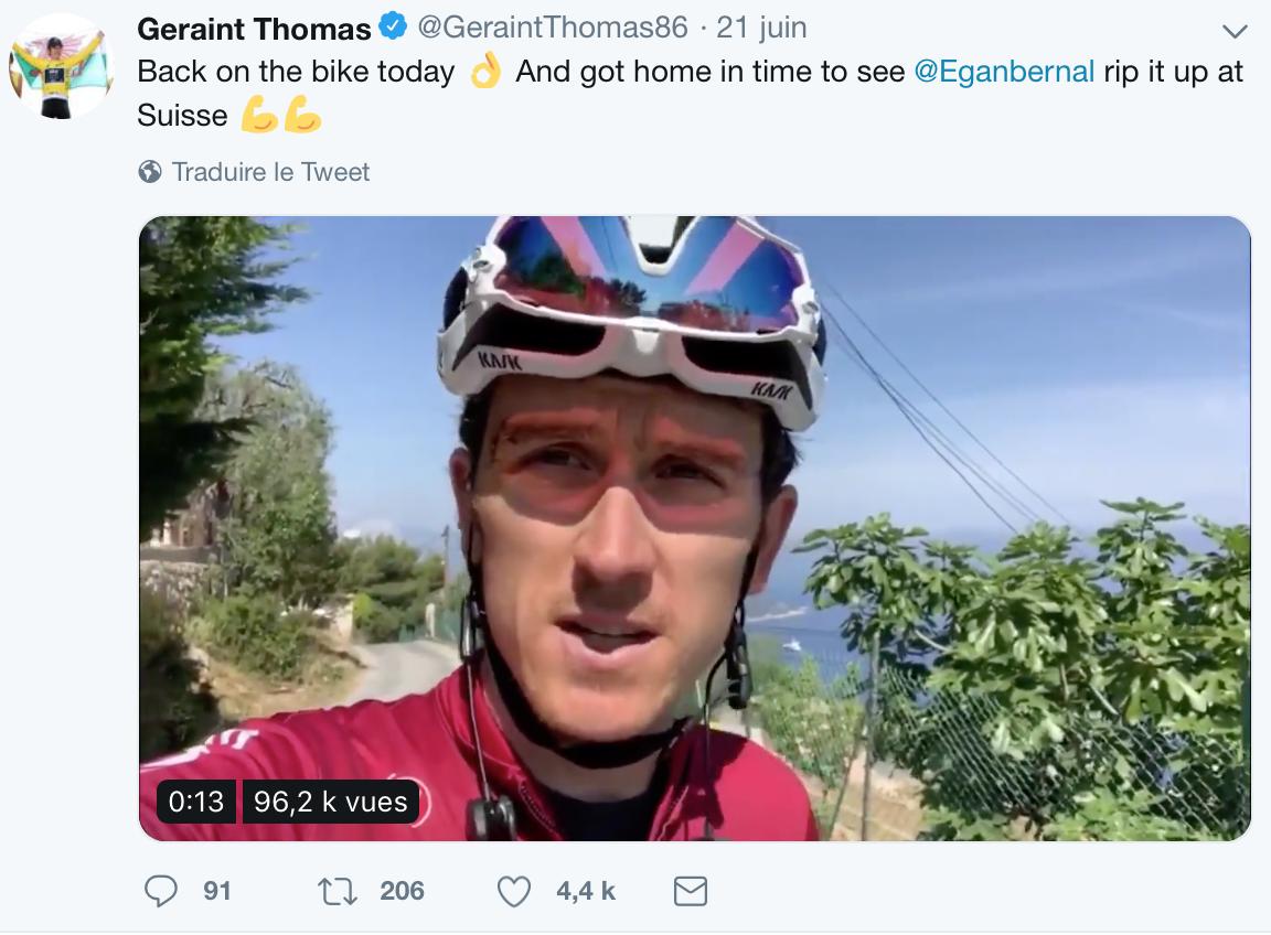 Geraint Thomas de retour sur le vélo