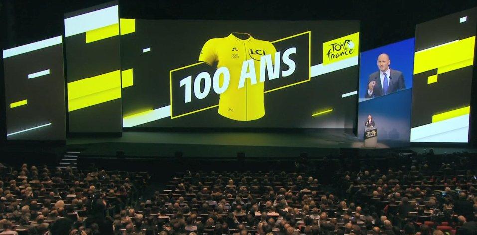 Jean-Etienne Amaury lors de la présentation du parcours du Tour de France 2019 au Palais des Congrès de Paris