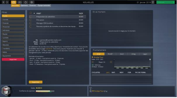 L'interface générale de gestion hors course