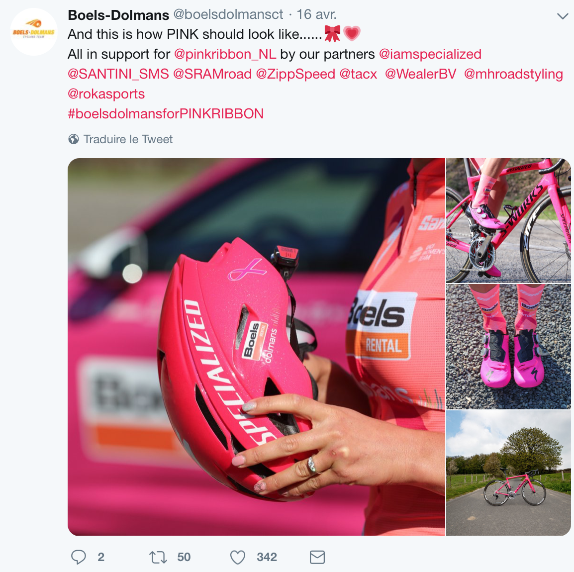 La Boels Dolmans en rose à l'Amstel